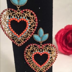 Heart Drop Multi Colored Earrings